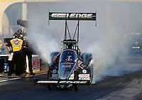 May 16, 2014; Commerce, GA, USA; NHRA top fuel dragster driver Brittany Force during qualifying for the Southern Nationals at Atlanta Dragway. Mandatory Credit: Mark J. Rebilas-USA TODAY Sports