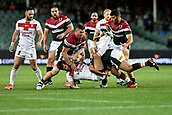 4th November 2017, Sydney Football Stadium, Sydney, Australia; Rugby League World Cup, England versus Lebanon; Stefan Ratchford of England is tackled by Bilal Maarbani of Lebanon