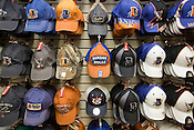A small sample of the many varieties of Durham Bulls headgear available at the spacious souvenir shop.