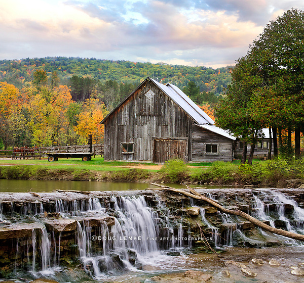 A Pastoral Scene, Old Barn And Waterfall During Autumn In New England, USA