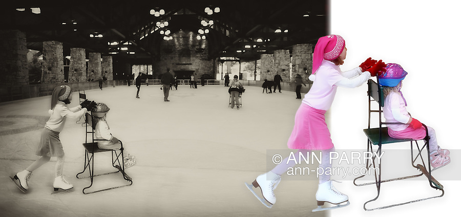 Mohonk Mountain House outdoor Ice Skating Rink, young sisters skating, March 2010
