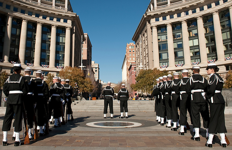 UNITED STATES - NOVEMBER 11: Members of the Navy's Ceremonial Guard prepare to participate in the wreath-laying ceremony on Veterans Day at the United States Navy Memorial in Washington on Thursday, Nov. 11, 2010. (Photo By Bill Clark/Roll Call)