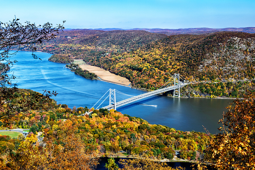 The Bear Mountain Bridge, as seen from the top of Bear Mountain on an autumn afternoon.
