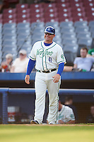 Hartford Yard Goats manager Darin Everson (41) during the first game of a doubleheader against the Trenton Thunder on June 1, 2016 at Sen. Thomas J. Dodd Memorial Stadium in Norwich, Connecticut.  Trenton defeated Hartford 4-2.  (Mike Janes/Four Seam Images)
