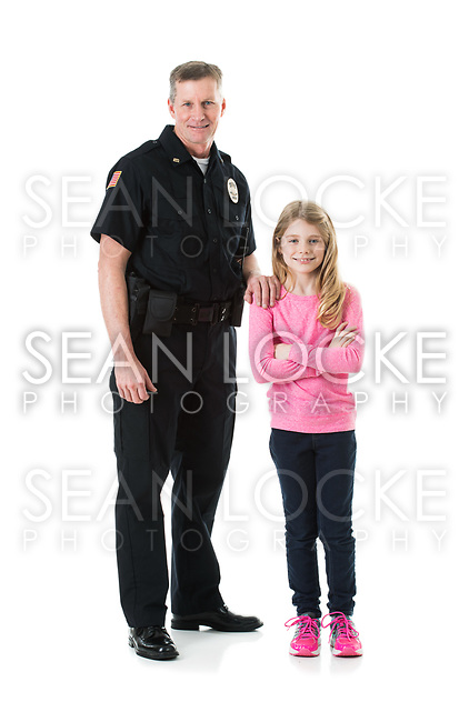 Extensive series of two police officers on white, with various props.  Also includes a child and a burglar.