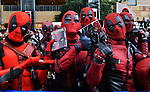 """May 29, 2018, Tokyo, Japan : Japanese fans wear costumes during the Japan premiere for """"Deadpool 2"""" at the Roppongi Hills in Tokyo, Japan on May 29, 2018."""