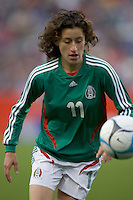 Second half substitute Tania Morales (Mexico, green) controls the ball near the touch line. USA women's national team defeated Mexico 5-0 at Gillette Stadium in Foxborough MA on April 14, 2007