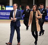Pictured: Dignitaries arrive at University Bay Campus. Saturday 14 October 2017<br /> Re: Hilary Clinton, the former US secretary of state and 2016 American presidential candidate will be presented with an honorary doctorate during a ceremony at Swansea University's Bay Campus in Wales, UK, to recognise her commitment to promoting the rights of families and children around the world.<br /> Mrs Clinton's great grandparents were from south Wales.
