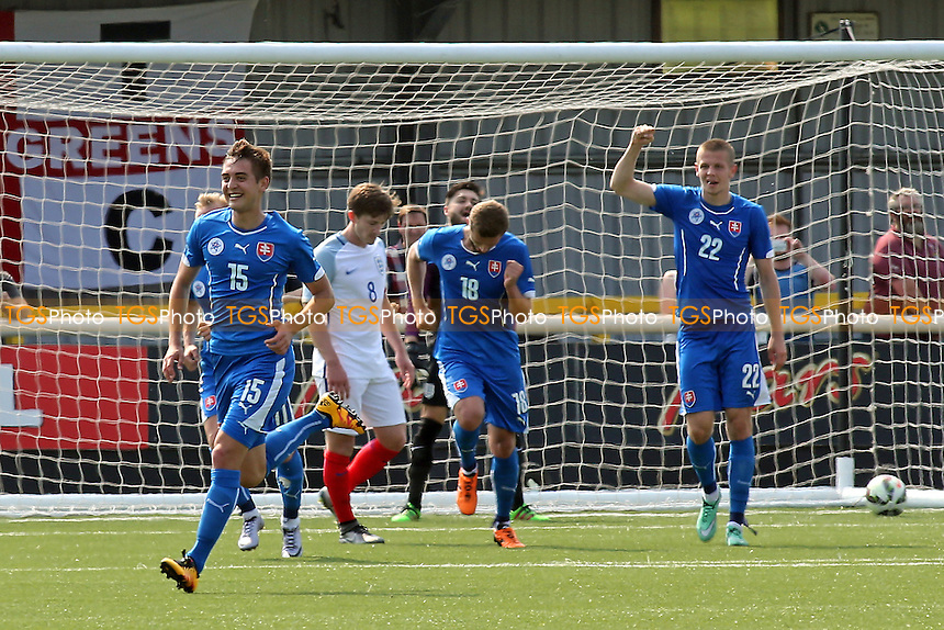 Michal Fasko (No 15) celebrates scoring Slovakia's fourth goal during England C vs Slovakia Under-21, International Challenge Trophy Football at the Borough Sports Ground on 5th June 2016