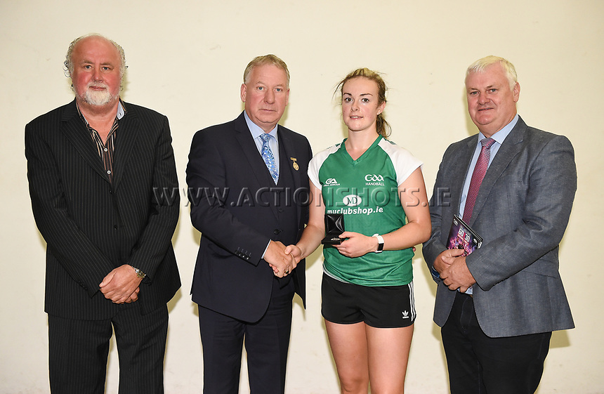 02/09/2017; GAA Handball All-Ireland 60x40 Womens Senior Singles Final, Catriona Casey (Cork) vs Martina McMahon (Limerick); Croke Park Handball Center, Dublin;<br /> Martina McMahon is presented with her runners up medal by main sponsor Martin Donnelly of Myclubshop.ie, GAA Handball President Joe Masterson and GAA President Aogan O Fearghail<br /> Photo Credit: actionshots.ie/Tommy Grealy
