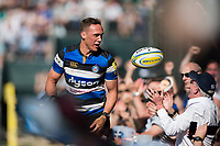 James Wilson of Bath Rugby offers a supporter the ball after scoring a try. Aviva Premiership match, between Bath Rugby and London Irish on May 5, 2018 at the Recreation Ground in Bath, England. Photo by: Patrick Khachfe / Onside Images