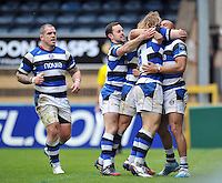 Bath players congratulate Jonathan Joseph on his try but the score is later ruled out by referee Romain Poite. Amlin Challenge Cup semi-final, between London Wasps and Bath Rugby on April 27, 2014 at Adams Park in High Wycombe, England. Photo by: Patrick Khachfe / Onside Images