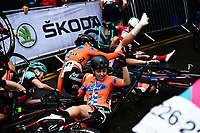 Picture by Alex Broadway/SWpix.com - 18/05/2017 - Cycling - Tour Series Round 5, Croydon - Matrix Fitness Grand Prix - Riders crash during the roll out of the race.