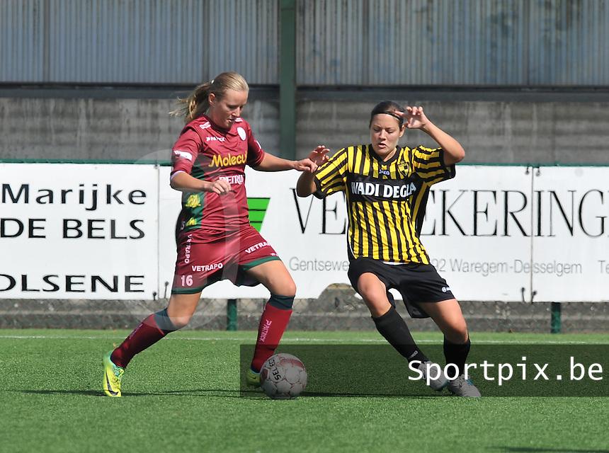 Dames Zulte - Waregem : Elle Decorte aan de bal voor Charlotte Van Bavel van Lierse.foto DAVID CATRY  / Vrouwenteam.be.