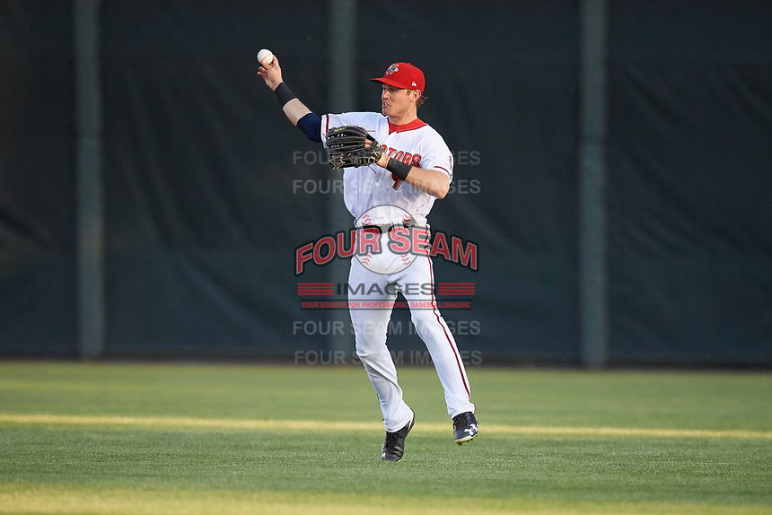 Harrisburg Senators center fielder Alec Keller (9) throws the ball in during a game against the Bowie Baysox on May 16, 2017 at FNB Field in Harrisburg, Pennsylvania.  Bowie defeated Harrisburg 6-4.  (Mike Janes/Four Seam Images)