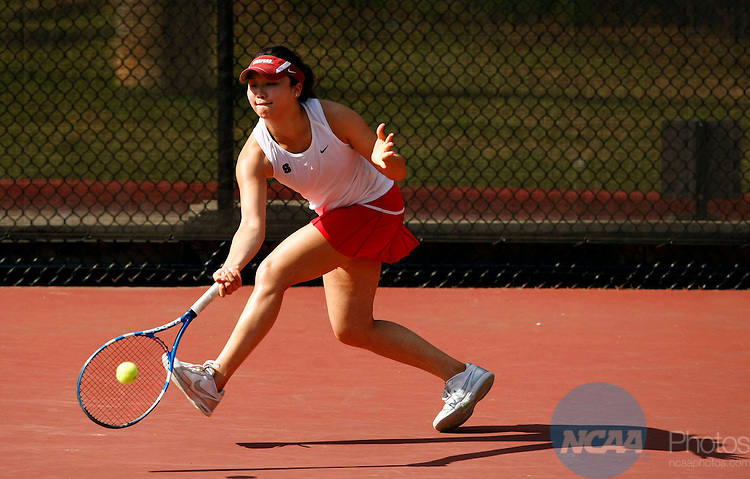 25 MAY 2010:  Veronica Li of Stanford hits a return against the University of Florida during the Division I Women's Tennis Championship held at the Dan Magill Tennis Complex on the University of Georgia campus in Athens, GA.  Stanford defeated Florida 4-3 for the national title.  Jamie Schwaberow /NCAA Photos
