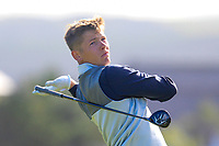 Kieran Cantley from Scotland on the 12th tee during Round 1 Foursomes of the Men's Home Internationals 2018 at Conwy Golf Club, Conwy, Wales on Wednesday 12th September 2018.<br /> Picture: Thos Caffrey / Golffile<br /> <br /> All photo usage must carry mandatory copyright credit (&copy; Golffile | Thos Caffrey)