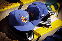 Midland Rockhound hats in the dugout April 20th, 2010; Midland Texas Rockhounds vs The Springfield Cardinals at Hammons Field in Springfield Missouri.  The Cardinals won in the 9th inning breaking a 1-1 tie.