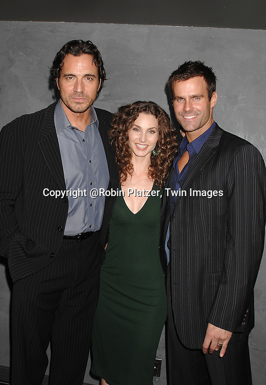 Thorsten Kaye, Alicia Minshew and Cameron Mathison..at The Surprise 70th Birthday Party for All My Children's star Susan Lucci's husband Helmet Huber on October 10, 2007 at The Rainbow Room ....Photo by Robin Platzer, Twin images....212-935-0770