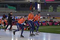 SPEEDSKATING: HAMAR: Vikingskipet, 28-02-2020, ISU World Speed Skating Championships, Marcel Bosker (NED), Sven Kramer (NED), Patrick Roest (NED), ©photo Martin de Jong