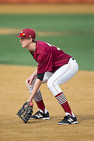 Harvard Crimson first baseman Patrick McColl (31) on defense against the Wake Forest Demon Deacons at David F. Couch Ballpark on March 5, 2016 in Winston-Salem, North Carolina.  The Crimson defeated the Demon Deacons 6-3.  (Brian Westerholt/Four Seam Images)