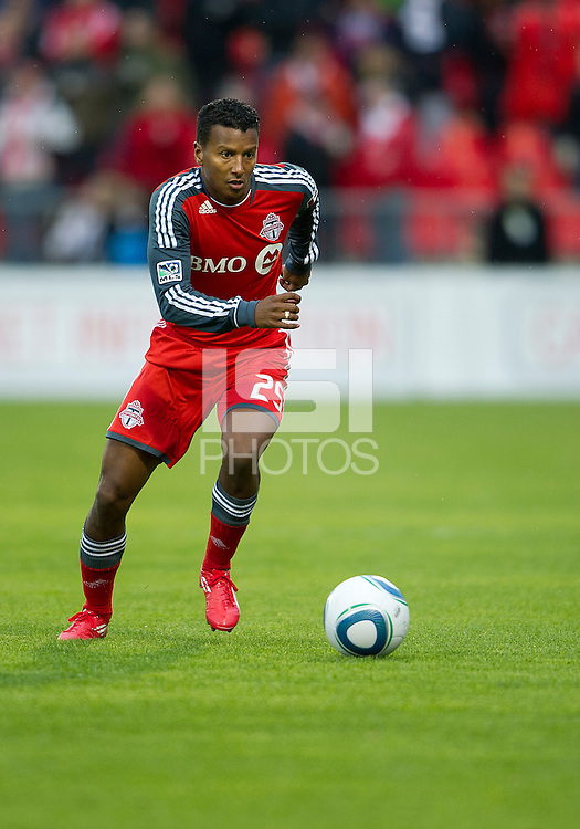 16 April 2011: Toronto FC defender Danleigh Borman #25 in action during an MLS game between D.C. United and the Toronto FC at BMO Field in Toronto, Ontario Canada..D.C. United won 3-0.