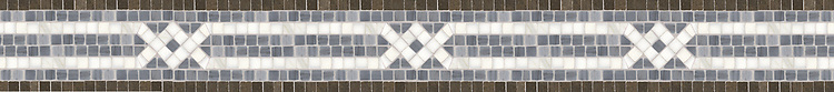 "4 1/2"" Apollo border, a hand-cut mosaic shown in polished Bardiglio, Calacatta, and honed Montevideo by New Ravenna."