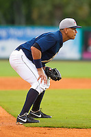 Alex Rodriguez #13 of the New York Yankees played third base in a rehab start for the Charleston RiverDogs in a South Atlantic League game against the Rome Braves at Joseph P. Riley Park on July 2, 2013 in Charleston, South Carolina.  The RiverDogs defeated the Braves 4-2.   (Brian Westerholt/Four Seam Images)