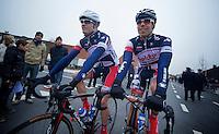 Kuurne-Brussel-Kuurne 2012<br /> Frederik Willems &amp; Jens Debusschere off to the start