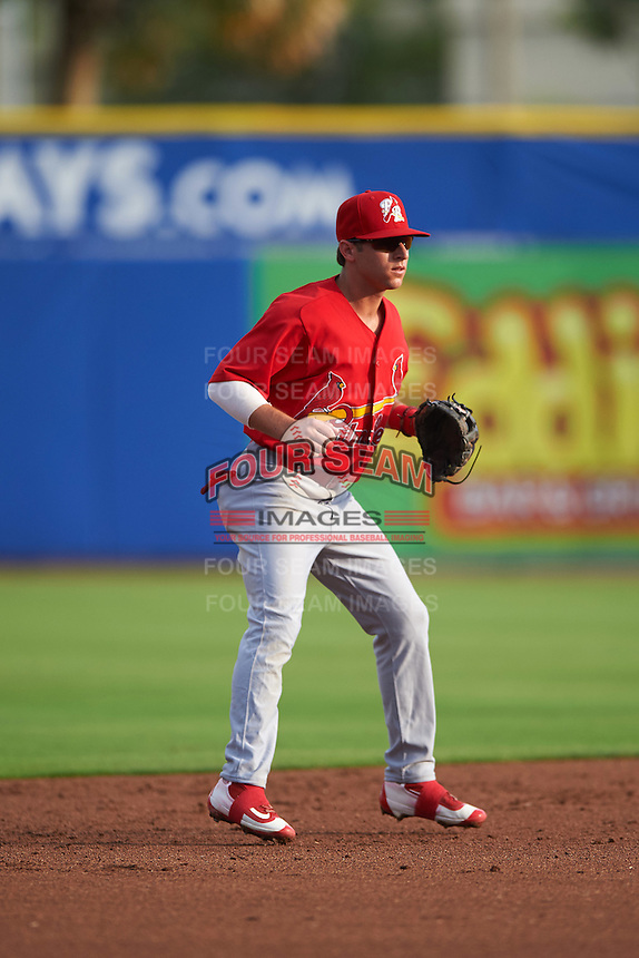 Palm Beach Cardinals shortstop Mikey Reynolds (4) during a game against the Dunedin Blue Jays on April 15, 2016 at Florida Auto Exchange Stadium in Dunedin, Florida.  Dunedin defeated Palm Beach 8-7.  (Mike Janes/Four Seam Images)