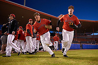 Ball State Cardinals Alex Call (8) and Caleb Stayton (34) take the field for a game against the Wisconsin-Milwaukee Panthers on February 26, 2016 at Chain of Lakes Stadium in Winter Haven, Florida.  Ball State defeated Wisconsin-Milwaukee 11-5.  (Mike Janes/Four Seam Images)