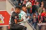17.03.2019, BayArena, Leverkusen, GER, 1. FBL, Bayer 04 Leverkusen vs. SV Werder Bremen,<br />  <br /> DFL regulations prohibit any use of photographs as image sequences and/or quasi-video<br /> <br /> im Bild / picture shows: <br /> Kopfballduell zwischen  Theodor Gebre Selassie (Werder Bremen #23), Wendell (Leverkusen #18), <br /> <br /> Foto © nordphoto / Meuter