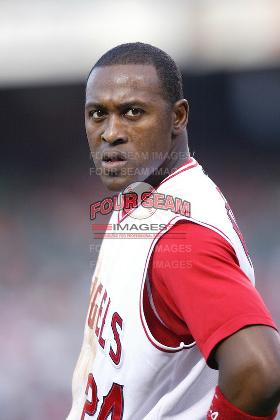 Gary Matthews jr of the Los Angeles Angels during a 2007 MLB season game at Angel Stadium in Anaheim, California. (Larry Goren/Four Seam Images)