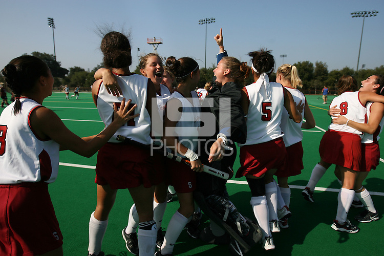 6 November 2007: Stanford Cardinal Midori Uehara (3), Rachel Bush (21), Rachel Mozenter (7), Katherine Swank (16), Alessandra Moss (42), Nora Soza (5), Jaimee Erickson (4), Hillary Braun (8), and Caroline Hussey (18) during Stanford's 1-0 win against the Lock Haven Lady Eagles in an NCAA play-in game to advance to the NCAA tournament at the Varsity Field Hockey Turf in Stanford, CA.