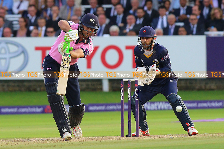 James Franklin in batting action for Middlesex as James Foster looks on from behind the stumps during Middlesex vs Essex Eagles, NatWest T20 Blast Cricket at Lord's Cricket Ground on 28th July 2016