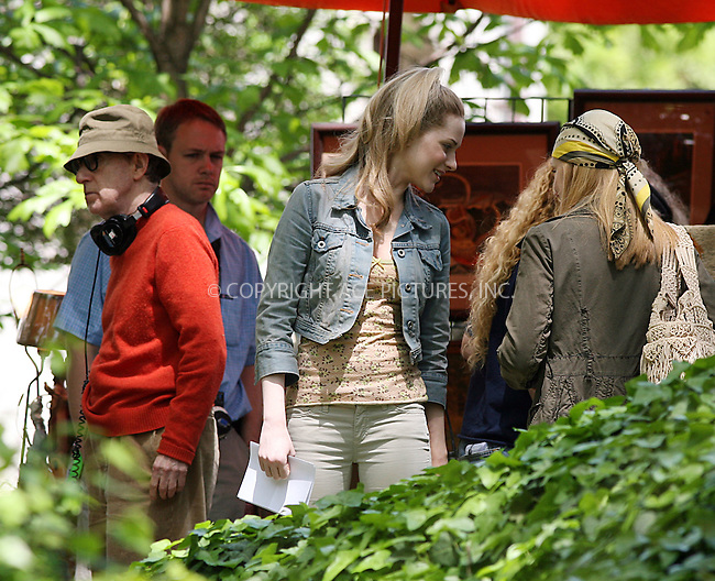 WWW.ACEPIXS.COM ** ** ** ....May 14 2008, New York City....Director Woody Allen and actress Evan Rachel Wood on the set of Woody Allen's spring project in the East Village of Manhattan.........Please byline: Philip Vaughan -- ACEPIXS.COM.. *** ***  ..Ace Pictures, Inc:  ..tel: (646) 769 0430..e-mail: info@acepixs.com..web: http://www.acepixs.com