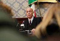 Marco Minniti, ministro dell Interno durante la conferenza stampa tenuta dopo ilComitato Provinciale Ordine e Sicurezza nella Prefettura di Napoli