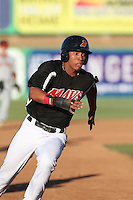 Luis Marte (16) of the High Desert Maverick runs the bases during a game against the San Jose Giants at Mavericks Stadium on June 14, 2015 in Adelanto, California. High Desert defeated San Jose, 7-5. (Larry Goren/Four Seam Images)