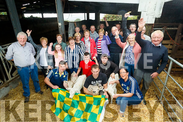 Neighbours and friends and the Howard family  with the Four surviving calves of the Five that were born  on the Howard farm in Kilsarcon, Currow.