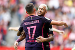 FC Barcelona's Neymar Santos Jr (r) and Paco Alcacer celebrate goal during La Liga match. September 24,2016. (ALTERPHOTOS/Acero)