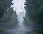 July 10, 2020; View of Notre Dame Avenue during a heavy rain (Photo by Matt Cashore/University of Notre Dame)
