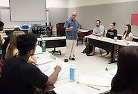 Professor Ronald Solórzano teaches his education class in Booth Hall, Feb. 9, 2017.<br /> (Photo by Marc Campos, Occidental College Photographer)