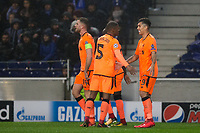 Liverpool's Roberto Firmino celebrates with team mates after scoring his side's fourth goal <br /> <br /> Photographer Craig Mercer/CameraSport<br /> <br /> UEFA Champions League Round of 16 First Leg - FC Porto v Liverpool - Wednesday 14th February 201 - Estadio do Dragao - Porto<br />  <br /> World Copyright &copy; 2018 CameraSport. All rights reserved. 43 Linden Ave. Countesthorpe. Leicester. England. LE8 5PG - Tel: +44 (0) 116 277 4147 - admin@camerasport.com - www.camerasport.com