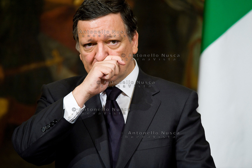 Roma, 21 Maggio, 2010. Manuel Barroso incontra Silvio Berlusconi a Palazzo Chigi. President of the EU_Commission during a press conference.