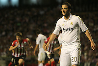 02.05.2012 SPAIN -  La Liga matchday 20th  match played between Athletic de Bilbao vs Real Madrid (0-3) at San Mames stadium, Real Madrid was proclaimed as champion of the League for 32nd time. The picture show  Gonzalo Higuain (Argentine/French Forward of Real Madrid)