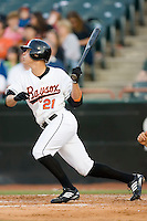 Lou Montanez (21) of the Bowie Baysox follows through on his swing at Prince Georges Stadium in Bowie, MD, Tuesday June 17, 2008.