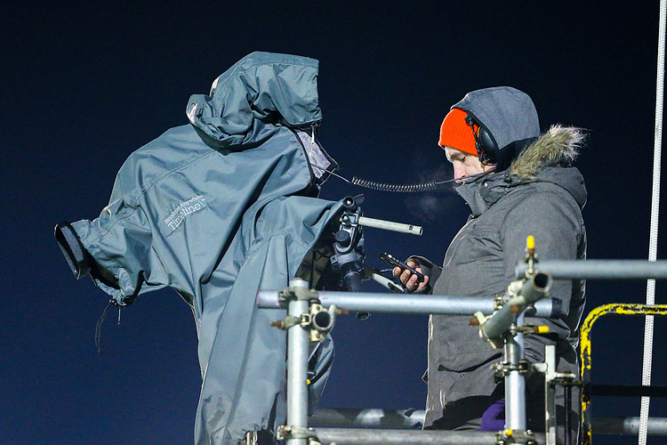 Cameramen and crew prepare to film the match for BT Sport<br /> <br /> Photographer Alex Dodd/CameraSport<br /> <br /> The Emirates FA Cup Second Round - Guiseley v Fleetwood Town - Monday 3rd December 2018 - Nethermoor Park - Guiseley<br />  <br /> World Copyright © 2018 CameraSport. All rights reserved. 43 Linden Ave. Countesthorpe. Leicester. England. LE8 5PG - Tel: +44 (0) 116 277 4147 - admin@camerasport.com - www.camerasport.com