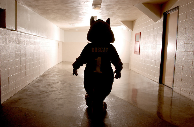 16315Ohio Bobcat Silhouette in Hallway at Convo