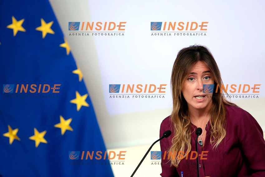 Maria Elena Boschi<br /> Roma 16/10/2017. Palazzo Chigi. Presentazione della campagna per il numero 1522 antiviolenza e antistalking.<br /> Rome November 16th 2017. Presentation of the anti stalking and anti violence green number 1522<br /> Foto Insidefoto