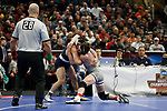 CLEVELAND, OH - MARCH 16: Vincenzo Joseph, of Penn State, wrestles David McFadden, of Virginia Tech, in the 165 weight class during the Division I Men's Wrestling Championship held at Quicken Loans Arena on March 16, 2018 in Cleveland, Ohio. (Photo by Jay LaPrete/NCAA Photos via Getty Images)
